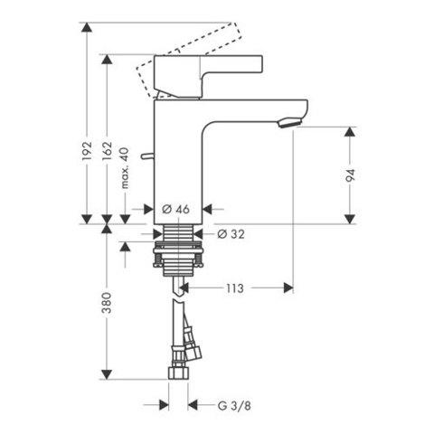 Смеситель для раковины Hansgrohe Metris S, 31060000 схема