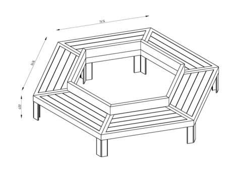 Скамья шестиугольная СИТИ с подсветкой