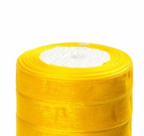 Лента органза (размер:15мм х 25 ярдов) Цвет: желтый