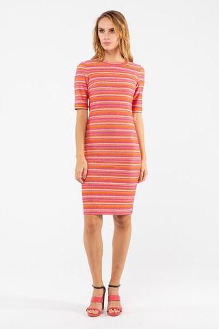 Фото полуприлегающее розовое платье в полоску с округлым вырезом - Платье З451-464 (1)