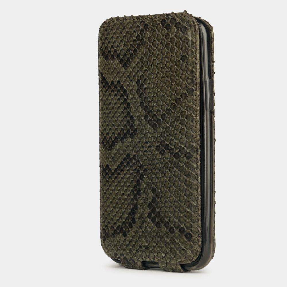 Чехол для iPhone 11 Pro из натуральной кожи питона, зеленого цвета