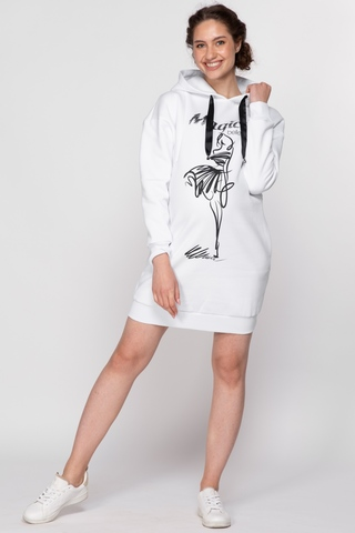 Утепленное платье-туника для беременных и кормящих 11384 белый