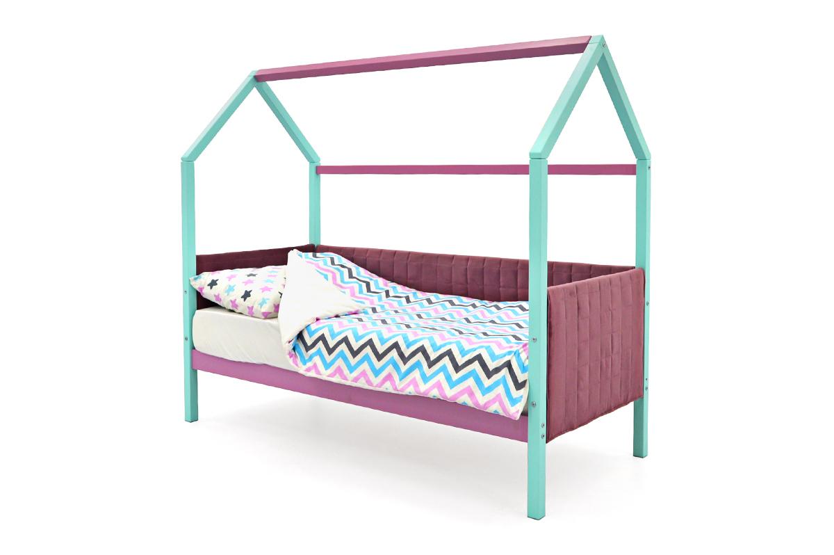 Кровать-домик мягкий «Svogen мятный-лаванда»