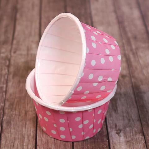 Капсулы для капкейков усиленные, светло-розовые в горох, 20 шт
