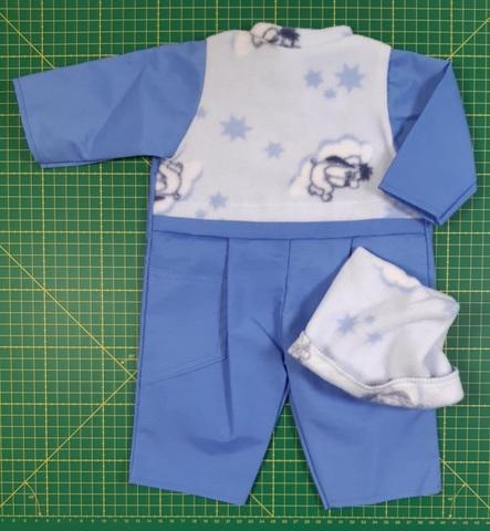 Комбинезон флис/плащевка (ДИСКОНТ) - Голубой. Одежда для кукол, пупсов и мягких игрушек.