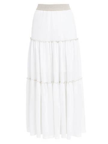 Женская юбка белого цвета из вискозы - фото 1