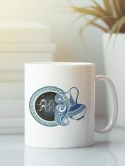Кружка с изображением Знаки Зодиака, Водолей (Гороскоп, horoscope) белая 001