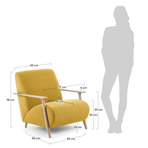 Кресло Marthan горчичное подлокотники светлые