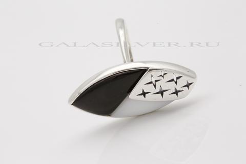 Кольцо с обсидианом  и кахолонгом из серебра 925