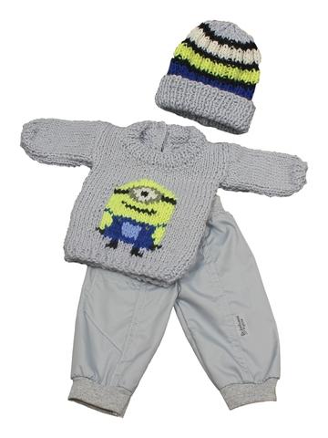 Вязаный комплект - Серый. Одежда для кукол, пупсов и мягких игрушек.