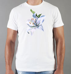 Футболка с принтом Цветы (с цветами, лилии) белая 0057