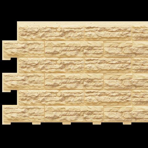 Фасадные панели (Цокольный Сайдинг) Доломит Скалистый Риф Премиум Карри