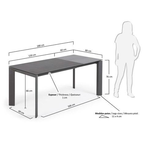 Стол раскладной Atta 120(180) x80 антрацит