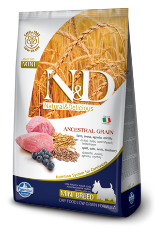 Сухой низкозерновой корм Farmina N&D Low Grain Lamb&Blueberry Adult Dog Mini