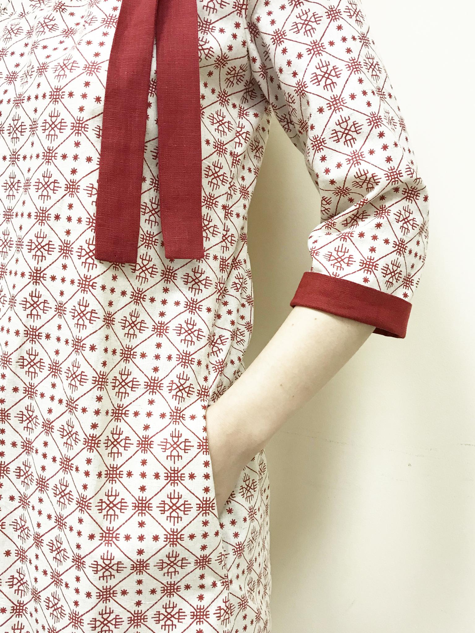 Платье льняное Очарование манжет и карман
