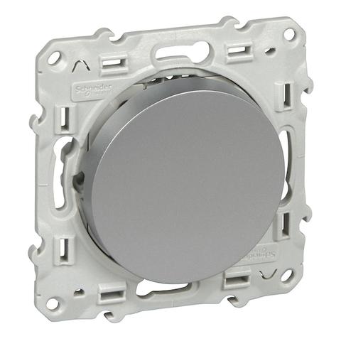 Выключатель/переключатель одноклавишный на 2 направления(проходной, схема 6) 10 АХ, 250 В. Цвет Алюминий. Schneider Electric(Шнайдер электрик). Odace(Одес). S53R203