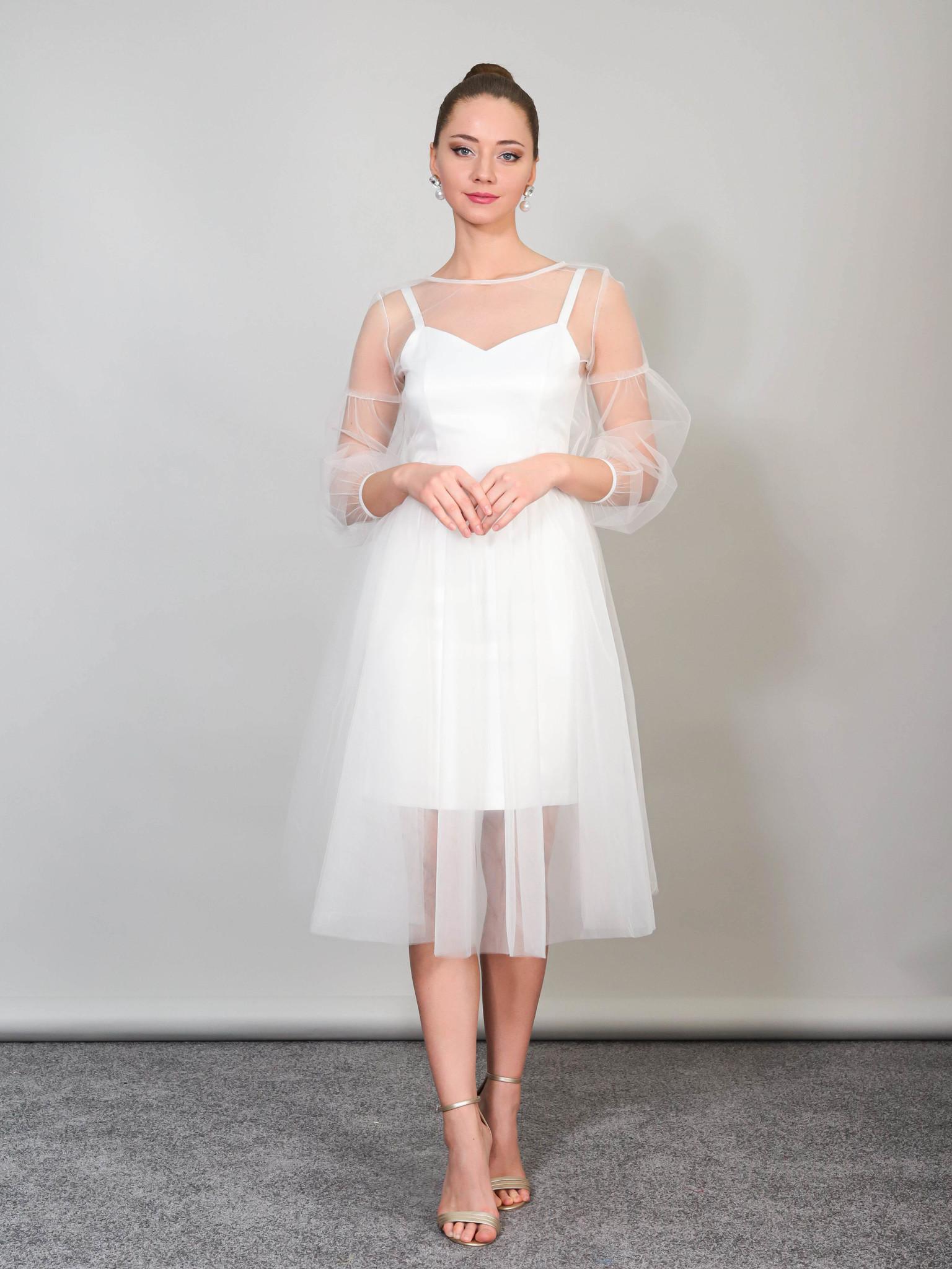 Свадебное платье-трансформер с объемными рукавами (молочный)