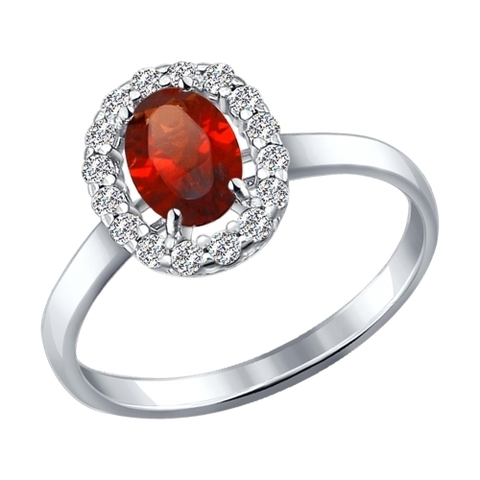 Серебряное кольцо с гранатом