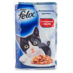 """Корм для кошек Felix """"C говядиной в желе"""" 85г"""