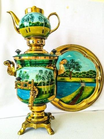 Самовар электрический трехлитровый в наборе с подносом и чайником с художественной росписью «Летний пейзаж»