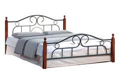 Кровать АТ-808 200x140 (Double Bed металл) Черный/Красный дуб