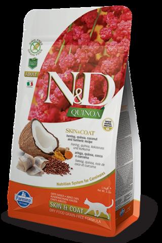 Сухой беззерновой корм Farmina N&D GF Cat Quinoa Skin&Coat Herring