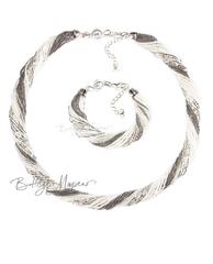 Комплект из бисера серебристо-белый 24 нити
