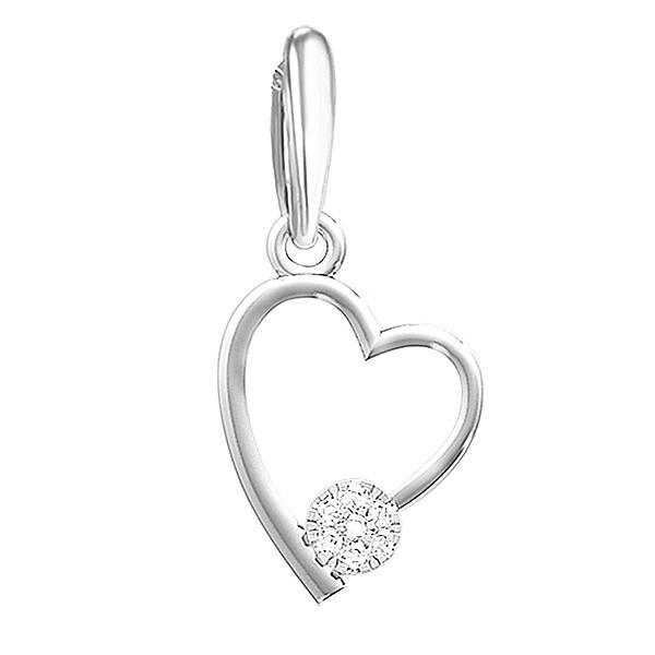 Подвеска из белого золота с бриллиантами в виде сердца