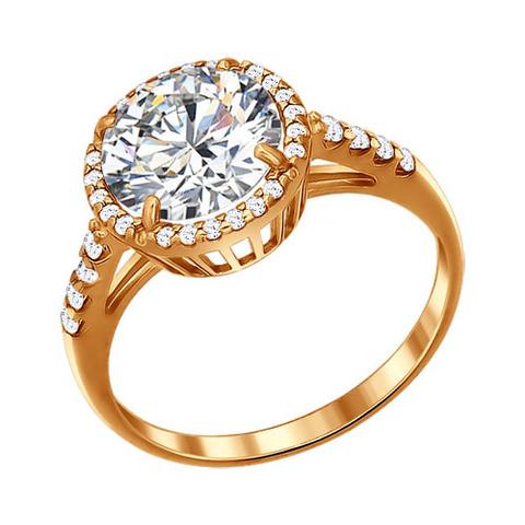 93010380 - Кольцо из золочёного серебра с круглым камнем в обсыпке