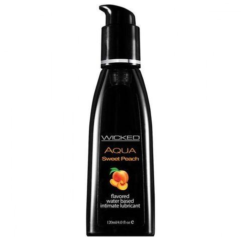 Лубрикант с ароматом спелого персика WICKED AQUA Sweet Peach - 120 мл.