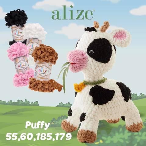 Пряжа Alize Puffy корова_1
