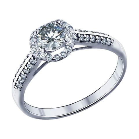 94011504 -Помолвочное кольцо из серебра с фианитами