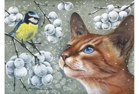 Алмазная Мозаика 30x40 Знакомство кошки и птицы
