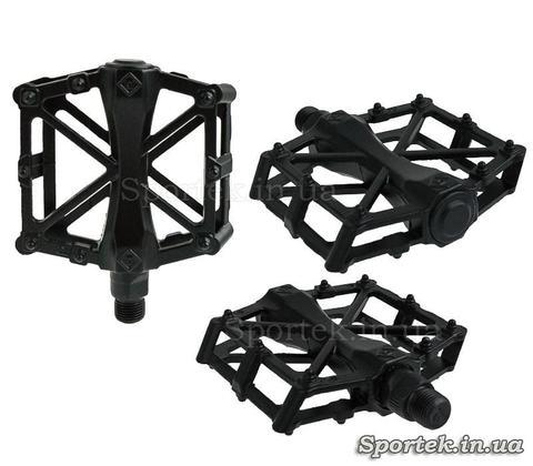 Чорні алюмінієві велосипедні педалі «Х» підшипник-кульки