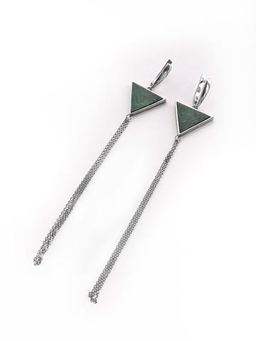 Серебряные серьги кисти с зеленым мрамором треугольной формы