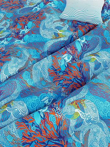 Постельное белье  -Золотая рыбка- 1,5-сп на молнии  Наволочка 50х70 см 2 шт  Простынь  150х215 см  Пододеяльник 145х215 см