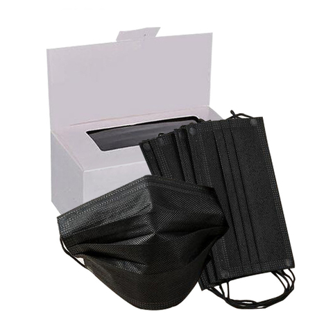 Маска защитная 3-х слойная черная 50шт