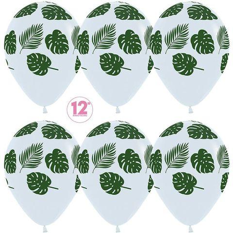 Шар (12''/30 см) Зеленые листья, Белый (005), пастель, 5 ст.