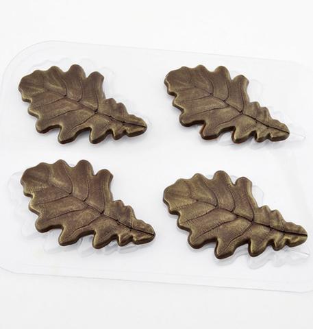 Пластиковая форма для шоколада ср. ДУБОВЫЕ ЛИСТЬЯ 4в1 (размер 45х80мм.)
