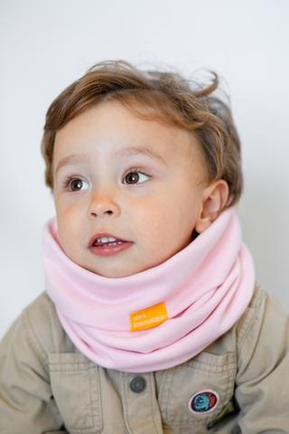 Детский снуд-горловинка из хлопка гладкий нежно-розовый