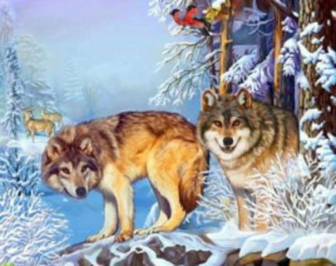 Алмазная Мозаика 30x40 Волки зимой