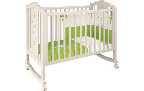 Кроватка детская Polini kids 621 бежевый-зеленый Зайки