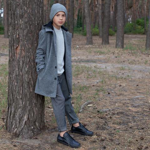 Подростковое кашемировое пальто серого цвета на мальчика