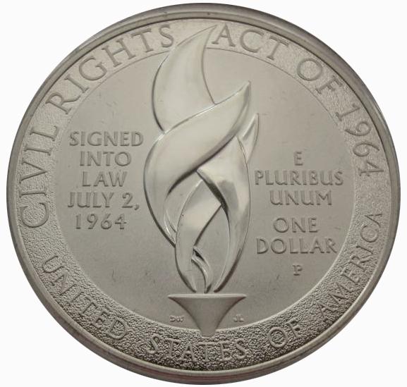 1 доллар 2014 год. Билль о гражданских правах 1964 года. США. Серебро. PROOF