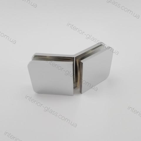 Соединитель (держатель) стекло-стекло 135 град. HDL-726 CP полированный хром