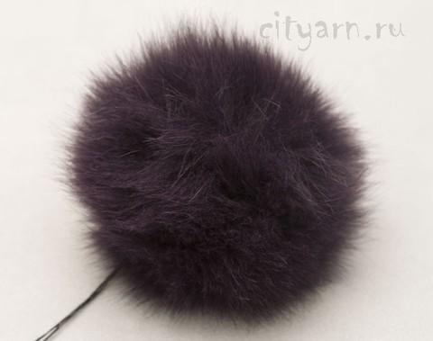Помпон из меха кролика, тёмно-сиреневый, диаметр 8 см