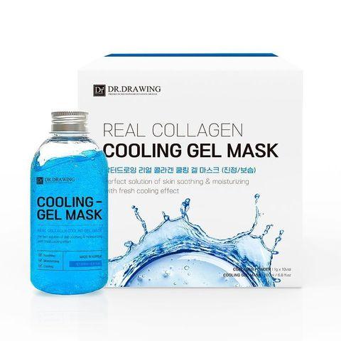 DR.DRAWING Cooling Gel Mask Охлаждающая гелевая маска для лица с коллагеном, гель 200 мл и порошок 1 г х 10 шт