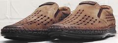 Мягкие туфли мокасины с перфорацией мужские деловой кэжуал Luciano Bellini 91737-S-307 Coffee.