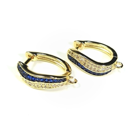 Швензы с синими и прозрачными цирконами цвет золото 1 пара