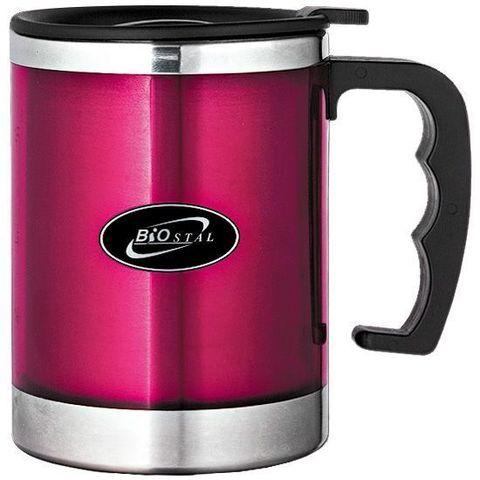 Кружка Biostal (0,35 литра) с крышкой, розовая